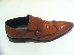 Mens Light Brown Casual Formal Slip on Leather Shoes