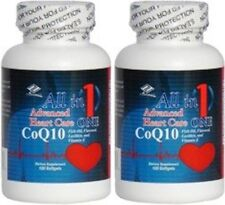 2 Advanced Heart Care w/ Coq10 Fish Oil EPA DHA Flaxseed Lecithin 120 Sg x 2=240