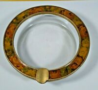 Vintage BUCKLERS New York, Glass Ashtray with Floral Enamel Gold Metal Ring