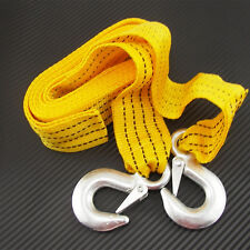 3 Tons Heavy Duty 12ft Road Emergency Trailer rope Tow Line Strap 2 Hooks Yellow