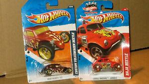 Hot Wheels LOT OF 2  VOLKSWAGEN  HEAT FLEET, THRILL RACERS  BAJA  BEETLE ,NEW