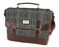 Briefcase Satchel with Traditional Harris Tweed in a Brown Herringbone Design