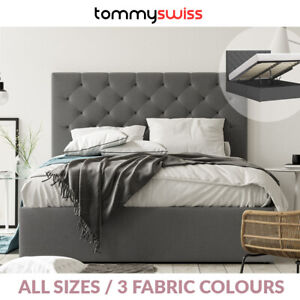 Gas Lift Storage Fabric Bed Frame with Extra Tall 125cm Bed Head in Grey Beige +