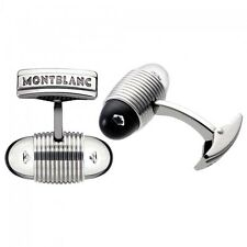 MONTBLANC STAINLESS STEEL CUFFLINKS FLOATING DIAMONDS NEW BOX GERMANY 101545