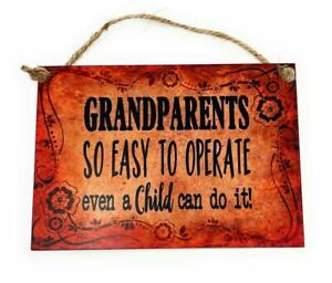 GRANDPARENTS So Easy To Operate Even AChild Can Do It! 5 x7 Wood Sign for Wall