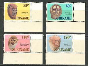 SURINAME 1987, WILD ANIMALS: MONKEYS Scott 755-758, MNH