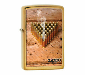 Zippo Lighter Bullets Exclusive with Logo Brushed Brass Finish Sealed
