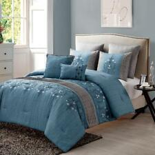 Lightweight 7 Piece Comforter Set Floral Embroidery Blue/Gray King Size