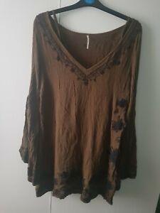 Free People Rayon Size M Khaki Embroidered Tunic Dress Long Top Boho Lagenlook