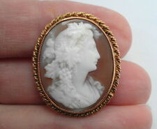 Vintage 9ct Gold Flora Lady Flowers Cameo Brooch Pin