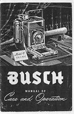 Busch Pressman Model C Camera Instruction Manual