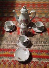 Vintage 13 Piece China Made Rose Pattern/Gold Trim Children's Tea Set