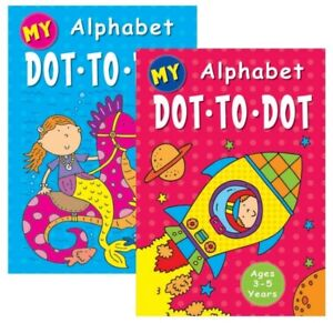 2 x A4 CHILDRENS KIDS ALPHABET DOT TO DOT PUZZLE  BOOK BOOKS COLOURING