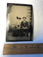 Vintage Tintype Victorian Man & Women Park Bench-hats-Antique Tin Type