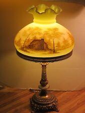 Vtg Fenton Satin Matte Custard Glass Table Lamp W  H.P. Log Cabin Scene, Signed