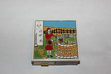 Vintage Ceramic Tile Match Book Holder-Woman At Well-Painted Tile-Match Holder