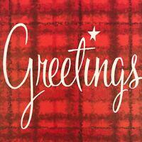Vintage Mid Century Christmas Greeting Card Plaid Handwriting Greetings MCM