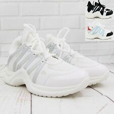 Señoras para mujer con Cordones Cuñas Tacón Interno Zapatillas Plataforma Botas al Tobillo Zapatos Talla
