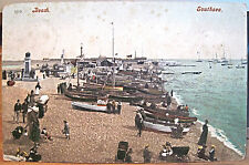 Welsh Postcard SOUTHSEA WALES UK Clarence Beach Boats Prams Memorials 1904