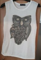 Glamour babe s/m white owl vest top