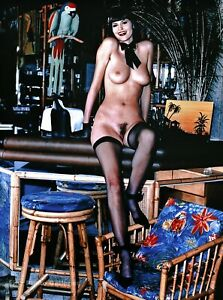 1990s Vintage HELMUT NEWTON Female Nude Model EVA Cocktail Bar Photo Art 16X20