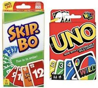 Skip Bo card game bundled with Uno card game Perfect Family Gift