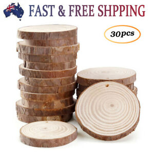30Pcs Round Log Slices Discs Wooden Wood Crafts Centerpieces DIY Log Disc Base