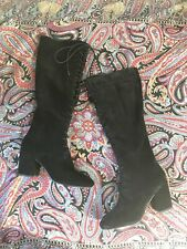 Aldo Black Suede Lace Up Knee Boots Go Go 6 UK