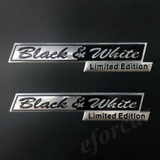 2pcs Metal Black & White Limited Edition Car Trunk Decal Sticker Badge Emblem