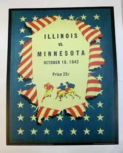 "Illinois Fighting Illini Minnesota Football 1942 Program Poster Print 14"" x 11"""