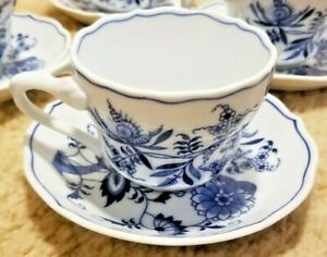 Blue Danube Cup & Saucer Set Japan Blue Onion Divided Handle Rectangle Mark
