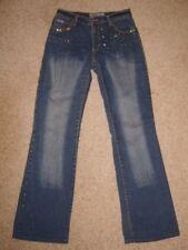 Ladies Beaded Sequined Straight Leg Jeans  UK10 L30 Hipy Fancy Dress Retro Used