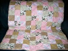"Handmade Baby Girl Crib Quilt, Elephants & Other Animals, 40.5"" x 45.5"""