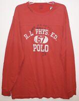 Polo Ralph Lauren Big & Tall Mens LT Red Football L/S Cotton T-Shirt NWT Size LT