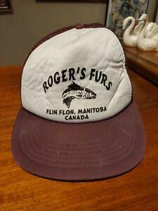 1980s SNAPBACK MESH ADVERTISING CAP ROGER'S FURS FLIN FLON MANITOBA CANADA
