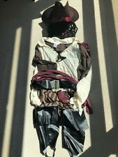 JACK SPARROW COMPLETE PIRATE COSTUME CAPTAIN HOOK ADULT MEN HAT DREADS WORN ONCE