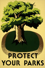 VINTAGE PROTECT YOUR PARKS A3 POSTER PRINT