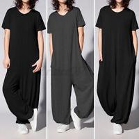 Mode Femme Combinaison Casual en vrac Loose Col Rond Manche Courte Pantalon Plus
