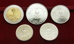 B-D-M Arabia Saudi Set 5 10 25 50 100 Halala 1999-2015 Bimetallic SC UNC