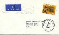 2402 ZAMBIA 1967 Elephants 2 Sh. 6 P. superb cover MISSENT via MONTREAL to USA