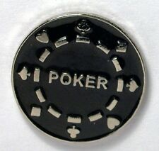 Metal Enamel Pin Badge Brooch Poker Chip Gamble Casino Black Jack Win Black