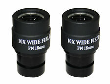PAIR Extra Wide Field 10x FOV 18mm Eyepiece for Zess Leitz Nikon Any Microscope