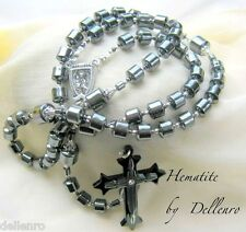 ✫HEMATITE✫  MEN'S BLACK DRUM SHAPED HANDCRAFTED ROSARY (Gift boxed)