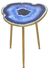 """Beistelltisch """"Achatscheibe"""" Deko Tisch Couchtisch Design Farbe: Blau/Goldfarben"""