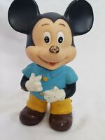 Mickey Mouse Rubber Squeak Toy Vintage Walt Disney Productions Japan 7 Inch Blue