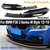 2Pcs Black Front Bumper Chin Lip For BMW F30 3 Series M Sports Style