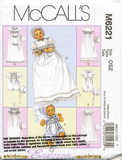 MCCALL'S SEWING PATTERN 6221 BABY SZ NB-L CHRISTENING GOWN/DRESS TUXEDO/ROMPER