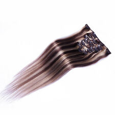 """20"""" Clip In Remy Human Women's Hair Extensions Straight 75gr #6/613 Mixed Color"""