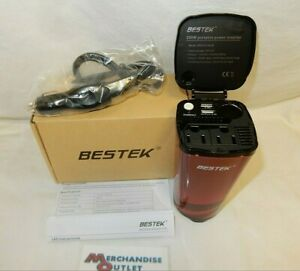BESTEK 200W Car Power Inverter with 2 AC Outlets and 4.5A Dual USB Cola Red