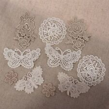 10 MIXED Vintage Crochet Lace Stick Sew On Fabric Motifs Sewing Patches B/F